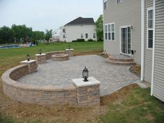 Patio  Shape And Seating Walls