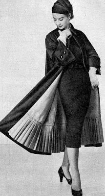 Model in afternoon dress and coat featuring pleated hem of the lining by Robert Dorland, Marie Claire (Milan Ed.) November in afternoon dress and coat featuring pleated hem of the lining by Robert Dorland, Marie Claire (Milan Ed. Fifties Fashion, Retro Fashion, Vintage Fashion, Womens Fashion, Korean Fashion, Ladies Fashion, Trendy Fashion, 1950s Style, Vintage Outfits