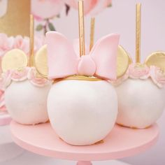 Gourmet Minnie Mouse apples from a Floral Minnie Mouse Birthday Party on Kara's Party Ideas | KarasPartyIdeas.com (13)