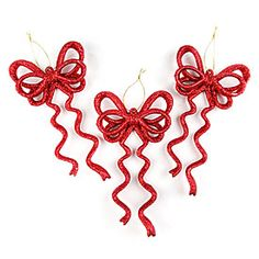 Red Glitter Bow Ornaments, 6-Pack at Big Lots.