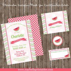 Watermelon Picnic 5x7 Printable Birthday by Marbella1Printables