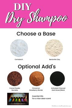You can easily mix up your own dry shampoo using one or more of the ingredients we recommend and according to your hair color and hair type. DIY dry shampoo is a great idea when you're running late and need a touch up between washings. Natural Dry Shampoo, Homemade Dry Shampoo, Diy Shampoo, Shampoo Bar, Homemade Beauty, Diy Beauty, Beauty Tips, The Body Shop, Beauty