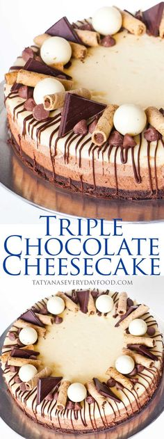 Triple Chocolate Cheesecake with video recipe by Tatyana's Everyday Food.. More