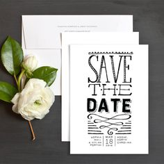 Lively Lettering Save The Date Cards by Two If By Sea Studios | Elli
