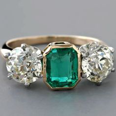 Art Deco Three Stone Ring Emerald European-cut Diamonds