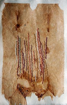 Trace of Falling Leaves by Patti Roberts-Pizzuto / Missouri Bend Studio - hand embroidery on teabag mounted on Japanese paper http://www.flickr.com/photos/missouribendstudio/5001952602/in/set-72157624962407694 http://www.etsy.com/shop/missouribendstudio