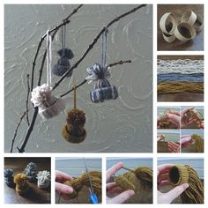 13. Mini Hat Ornaments | 32 Awesome No-Knit DIY Yarn Projects
