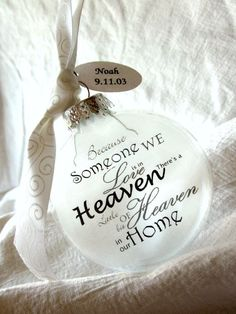 Heaven in Our Home Angel Memorial Ornament Keepsake - Large Over 3 Inches Because Someone We Love is in Heaven There's a Little Bit Of ...