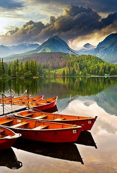 Photo about Boats on lake in Tatra Mountains region, Slovakia. Places Around The World, The Places Youll Go, Places To See, Around The Worlds, Bratislava, Beautiful World, Beautiful Places, Amazing Places, Voyage Europe