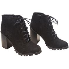 East Lion Corp.  Perforated Chunky Heeled Booties (50 CAD) ❤ liked on Polyvore featuring shoes, boots, ankle booties, ankle boots, black, wet seal, lace up booties, lace up ankle boots, black chunky heel booties and short black boots