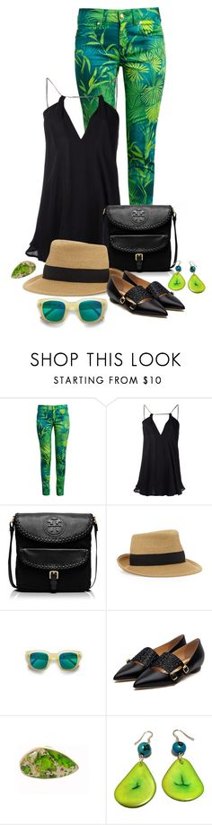 """""""#174"""" by casadiva ❤ liked on Polyvore featuring Versus, Plein Sud, Tory Burch, Eric Javits, Acne Studios, Rupert Sanderson and Charles Albert"""