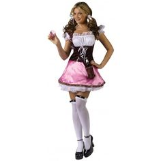 Pink Layla Beer Garden Costume for Women!  Includes:   - Pink/white dress w/ beer bottle holster  - Mini mugs (pink/white)