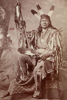 """Son Of The Star"". An Arikara Chief from Fort Berthold. North Dakota. 1879. Photo by J.N. Choate."