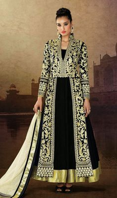 Flaunt your feminity in this black heavy embroidered velvet churidar suit. The patch, resham and stones work on dress personifies complete appearance. #AwesomeDesignerWear
