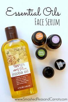 Essential Oil Face Serum made with frankincense, lavender, and melaleuca essential oils with jojoba oil as the carrier oil. Jojoba is fantastic for your skin!
