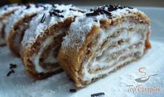 Tejfölös-diós tekercs liszt nélkül | TopReceptek.hu German Cake, Banana Bread, Bakery, Sweet Treats, Dessert Recipes, Food And Drink, Sweets, Healthy Recipes, Cooking