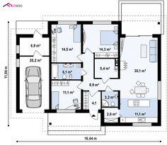 Z131 to wyjątkowy dom z kategorii projekty domów do 120 m2 Craftsman Floor Plans, House Floor Plans, Building Design, Building A House, Facade House, Future House, Planer, Tiny House, How To Plan