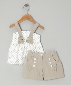 White Polka Dot Bow Top & Gray Shorts - Toddler & Girls