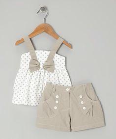 White Polka Dot Bow Top & Gray Shorts - Toddler & Girls