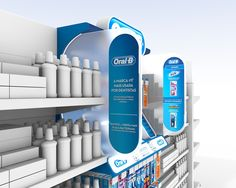 STOPPER - Design proposal for Oral B products organization in the POS. Signage Display, Retail Signage, Pos Display, Bottle Display, Display Design, Display Shelves, Product Display, Pos Design, Retail Design