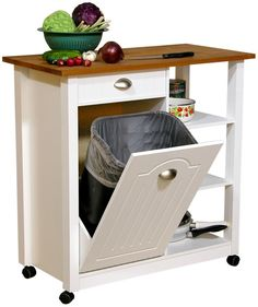Mobile Kitchen Island Trash Bin w 3 Shelf Pantry