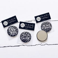 Set of Pocket Mirrors Calligraphy Monochrome Accessories Pop Clothing, Luxury Packaging, No Rain, Mirror Set, Hand Lettering, Monochrome, Great Gifts, Pocket, Calligraphy