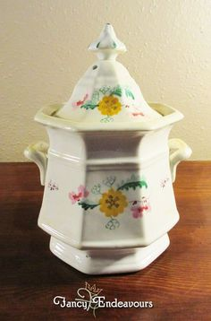 Antique Soft Paste Porcelain Sprig Decorated Large Covered Sugar Bowl #Unknown