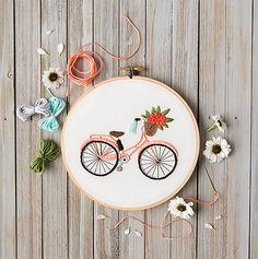 Mini Maker Bicycle Embroidery Stitch Kit - 9 Pieces - Includes Hoop, Pre-Stamped Felt, Needle, Floss and Instructions Hand Embroidery Videos, Embroidery Stitches Tutorial, Hand Embroidery Art, Simple Embroidery, Embroidery Kits, Ribbon Embroidery, Beginner Embroidery, Modern Embroidery, Vintage Embroidery