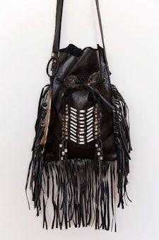 Black Leather Indian Bag