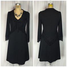 Vintage 70's Rockabilly Western Black Polyester Fringe Jacket Dress Suit | eBay