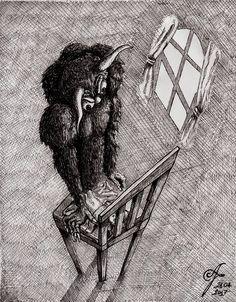 Illustration of a Nightmare   #drawing #sketch #crosshatch #hatch #blackandwhite #pen #karabasan #kabus #nightmare #succubus #incubus #devil #demon #mare #horns #engraving