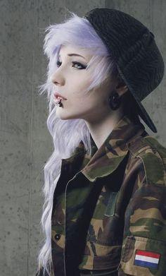 Light Purple Hair & Camo Jacket