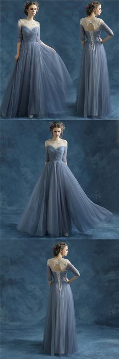 New Arrival Evening Formal Bridesmaid Dress, Blue Grey Wedding Diner Dress, Half Sleeves Beading Party Prom Dress, PD0406