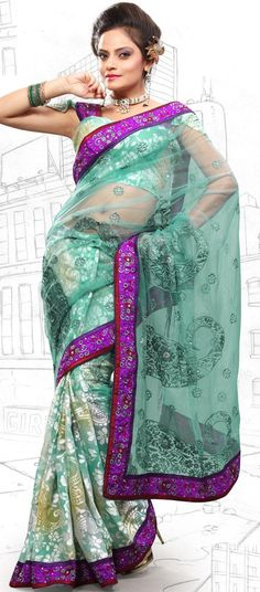 $59.03 Teal Blue Brasso and Net Latest Fashion Saree 16702 With Unstitched Blouse
