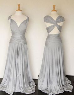 Infinity Style Multi Wrap Convertible Long Dress One Size Gray Jersey Material