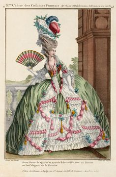 I love this shabby chic, French Marie Antoinette with her giant gown and fru fru fan. Your order will include the art shown on a fabric sheet. Rococo Fashion, French Fashion, Victorian Fashion, Vintage Fashion, Fashion Goth, Ladies Fashion, Womens Fashion, Marie Antoinette, Vintage Images