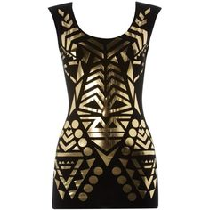 Lipsy Metallic Tribal Cut Out Top ❤ liked on Polyvore