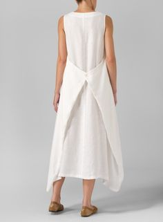 Linen Sleeveless Long Dress Off White