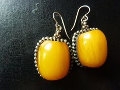 Butterscotch amber and sterling earrings