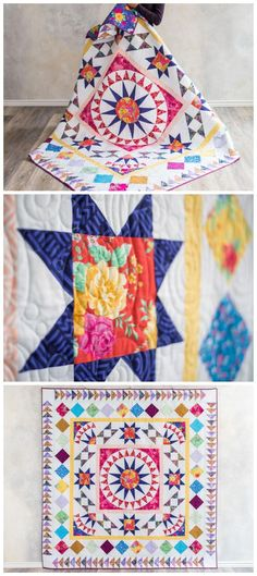 Meet me in the middle Madison Park Quilt Kit by Craftsy.  Medallion   quilt pattern using basic quilt blocks.  Full quilt kit.  Affiliate   link.