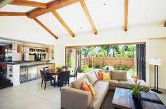open sunken family room   Room : Glass Doors, Open Floor Plan, Decorative Pillows, Great Room ...