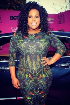 Glee's & DWTS Amber Riley wearing a dress from Rachel Roy