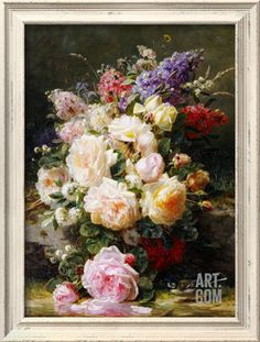 Still Life with Roses, Syringas and a Blue Tit on a Mossy Bank Stretched Canvas Print