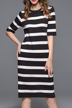 Black and White Hit Color Striped Sheath Dress #Black_and_White #Casual #Striped #Dress #Summer_Fashion