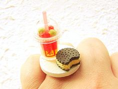Miniature Food Ring Fruit Drink Ice Cream by SouZouCreations, $12.50      #etsy #jewelry #jewellery #shopping #woman #girl #etsy #handmade #food #yummy #gift #present #dollhouse #accessory #fashion