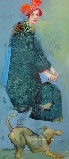 """""""En Cage d'Amitié""""  125 x 55 cm.   Technique mixte sur toile Art Techniques, Cage, Painting, Gardens, Artists, Canvas, Paint, Painting Art, Paintings"""