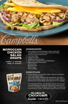 Moroccan Chicken Salad Wraps - It's a delightfully delicious wrap that's filled with wonderful flavors! Campbells Sauces, Campbells Recipes, Crock Pot Slow Cooker, Slow Cooker Recipes, Crockpot Recipes, Casserole Recipes, Meat Recipes, Cooking Recipes, Recipies