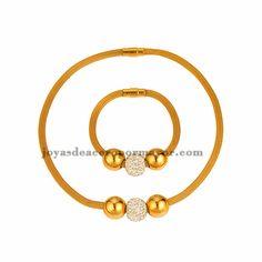 collar y bracelete con bola dorado y cristal en acero inoxidable para mujer -SSNEG481654