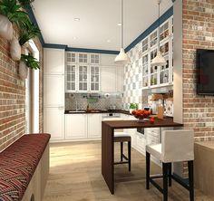 Кухня с барной стойкой, ракурс 3 Kitchen Furniture, Kitchen Dining, Reds Bbq, Bbq Apron, Small Fireplace, Kitchen Colors, Cozy House, Beautiful Homes, Sweet Home