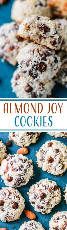 Almond Joy Cookies | These easy cookies are filled with coconut, almonds and chocolate chips and taste just like an almond joy. Best of all they only use 4 ingredients!